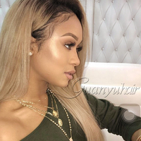 Guanyuhair 150% Density Ombre 1b/27 Blonde Lace Front Wig Straight Peruvian Remy Hair Two Tone Honey Blonde Ombre Human Hair Wig
