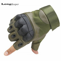 LongKeeper Military Tactical Gloves Luxury Quality Fingerless Guantes Half Finger Gym Fitness Sports Gloves Black Army