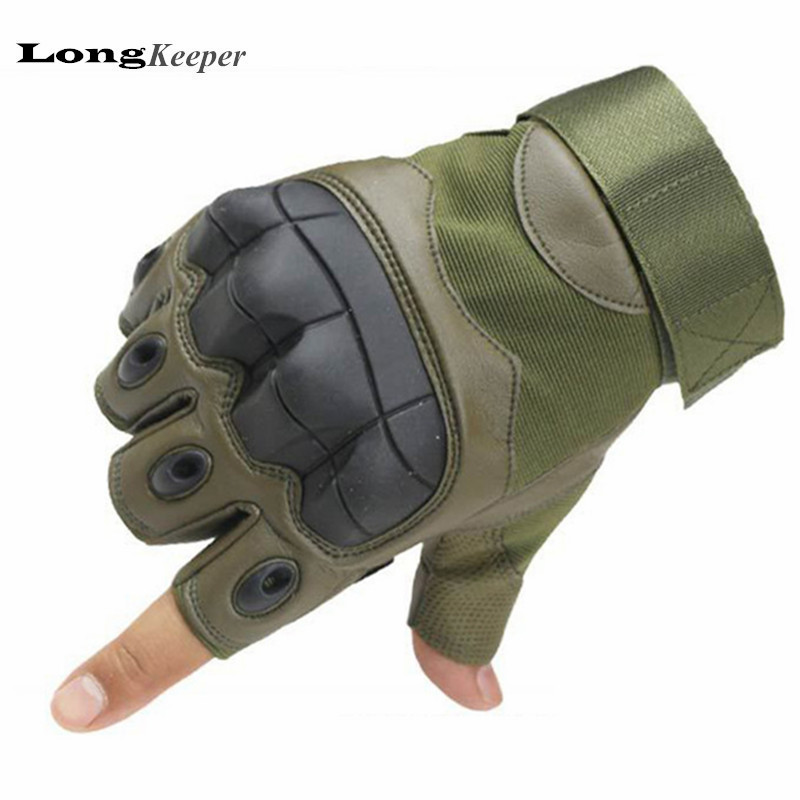 LongKeeper Military Tactical <font><b>Gloves</b></font> Luxury Quality Fingerless Guantes Half Finger Gym Fitness Sports <font><b>Gloves</b></font> Black Army Green 204