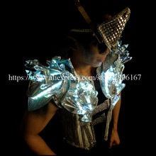 Cool Led Luminous Stage Show Costumes Male Singer Crystal LED Men's Clothing DJ Suits With Led Mask