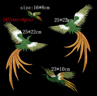 3kinds Phoenix Bird Combination Gold Thread Embroidery Patches For Cloth Embroidered Applique DIY Accessories Need Sewing