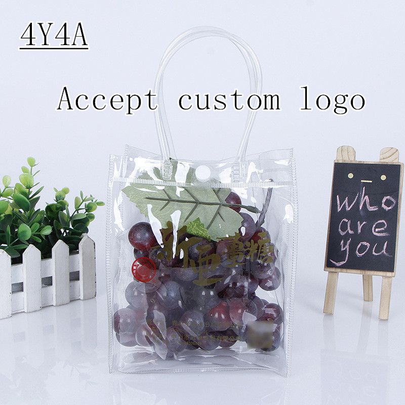 [4Y4A] 100pcs/Lot Custom Logo  Portable Washing Storage Green Flat Waterproof PVC Bag Transparent Bump
