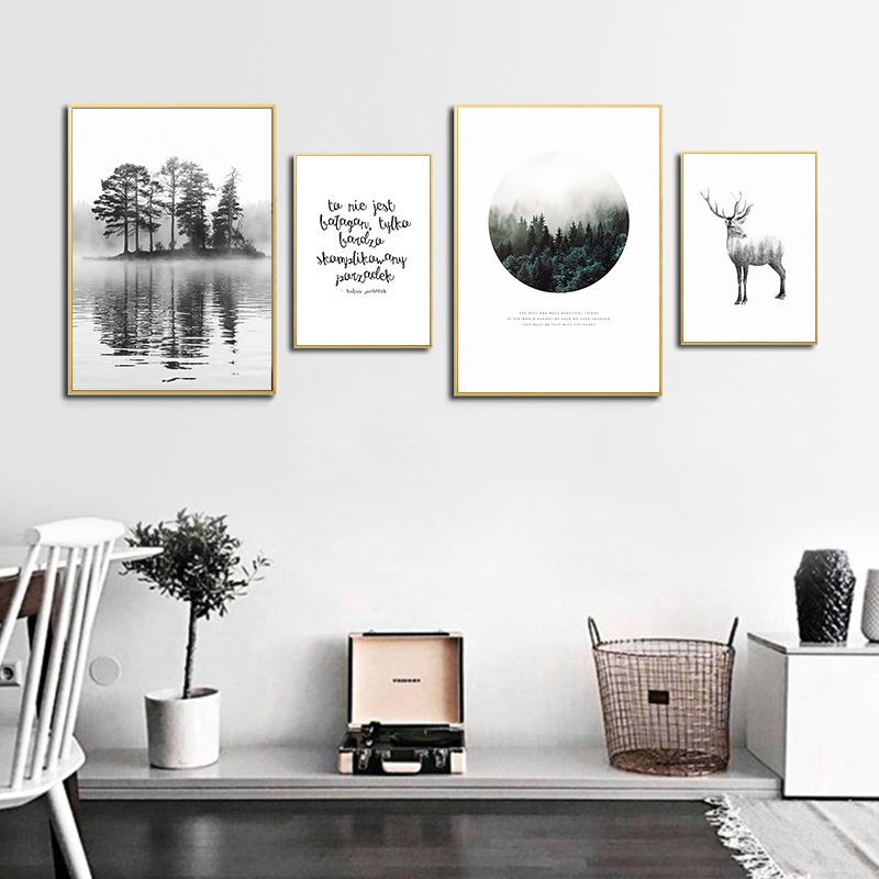 Simple Abstract Forest Landscape Map English Word Animal Deer Canvas Painting Print Poster Picture Wall Home Decoration A2 A3 A4 in Painting Calligraphy from Home Garden