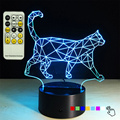 2016 New Hot 3D Walking Cat Light 7 Color Changable Remote Control Desk Lamp LED Night light for Child Gift Craft Home Decor