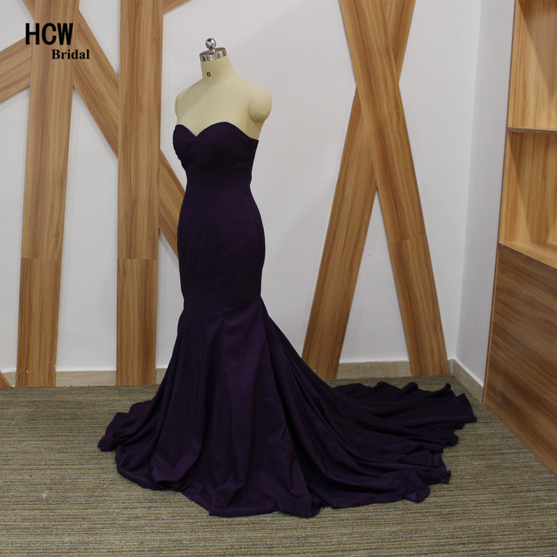 Проста и елегантна вечерна рокля от русалка без презрамки до рамото лилави дълги вечерни рокли 2019 Официални рокли по поръчка