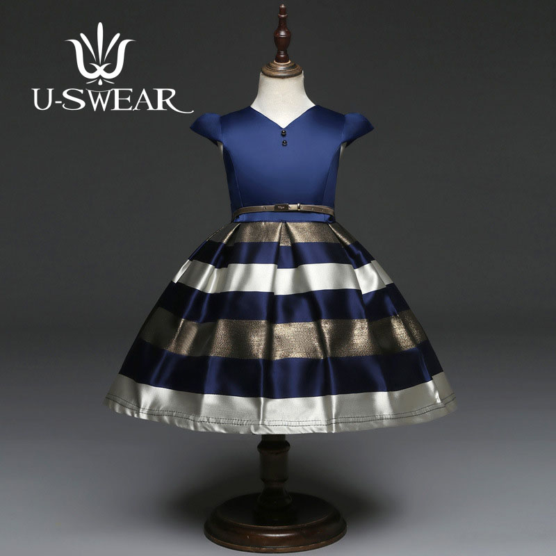 U-SWEAR 2019 New Arrival 2 Colors Kid   Flower     Girl     Dresses   V-neck Pearls Short Sleeve Sashes Ball Gown Stripe Pageant   Dress
