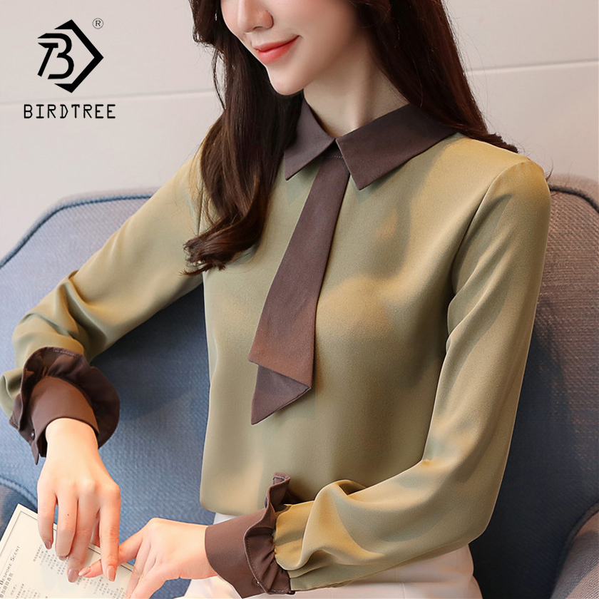 New Arrival Elegant Sweet Petal Sleeves Women   Blouses     Shirt   Soild Chiffon Tops Turn-down Collar Slim Loose Women   Shirts   T83711L