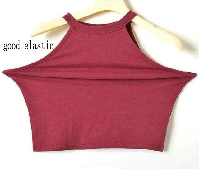 6ab960d9adf 5 colors 2016 New Women Summer Tight 100% Cotton Elastic Crop Tops Cute  Sleeveless T