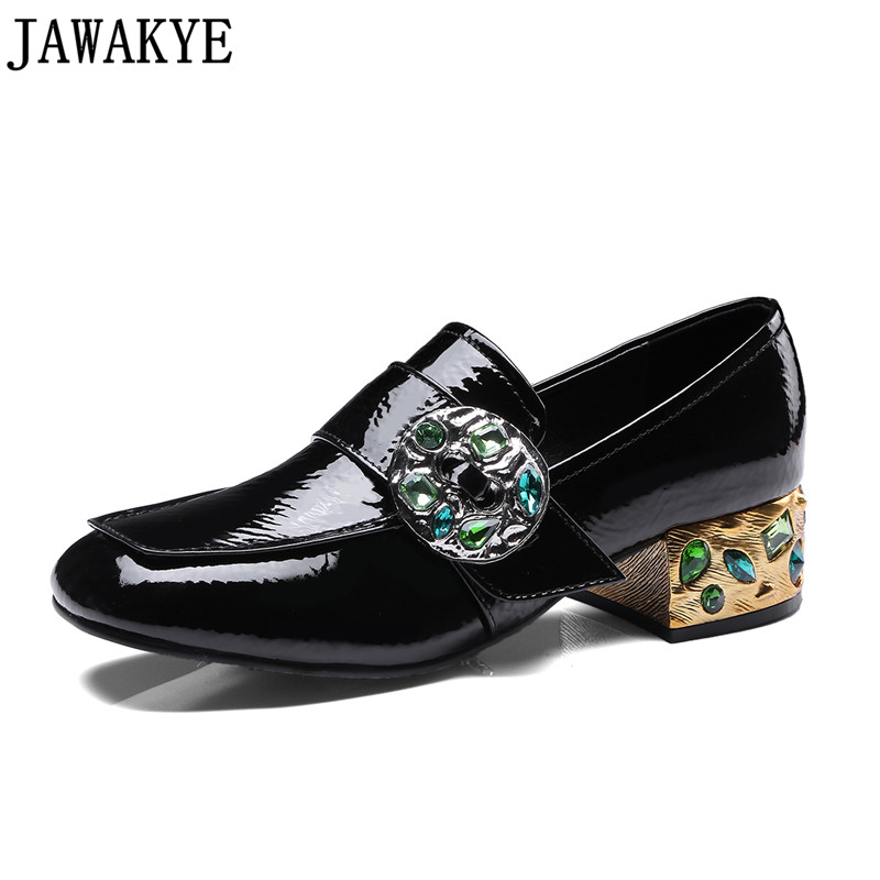 JAWAKYE Spring Shoes Women green crystal studded rhinestone square Middle Heels Runway Pumps casual shoes zapatos mujer