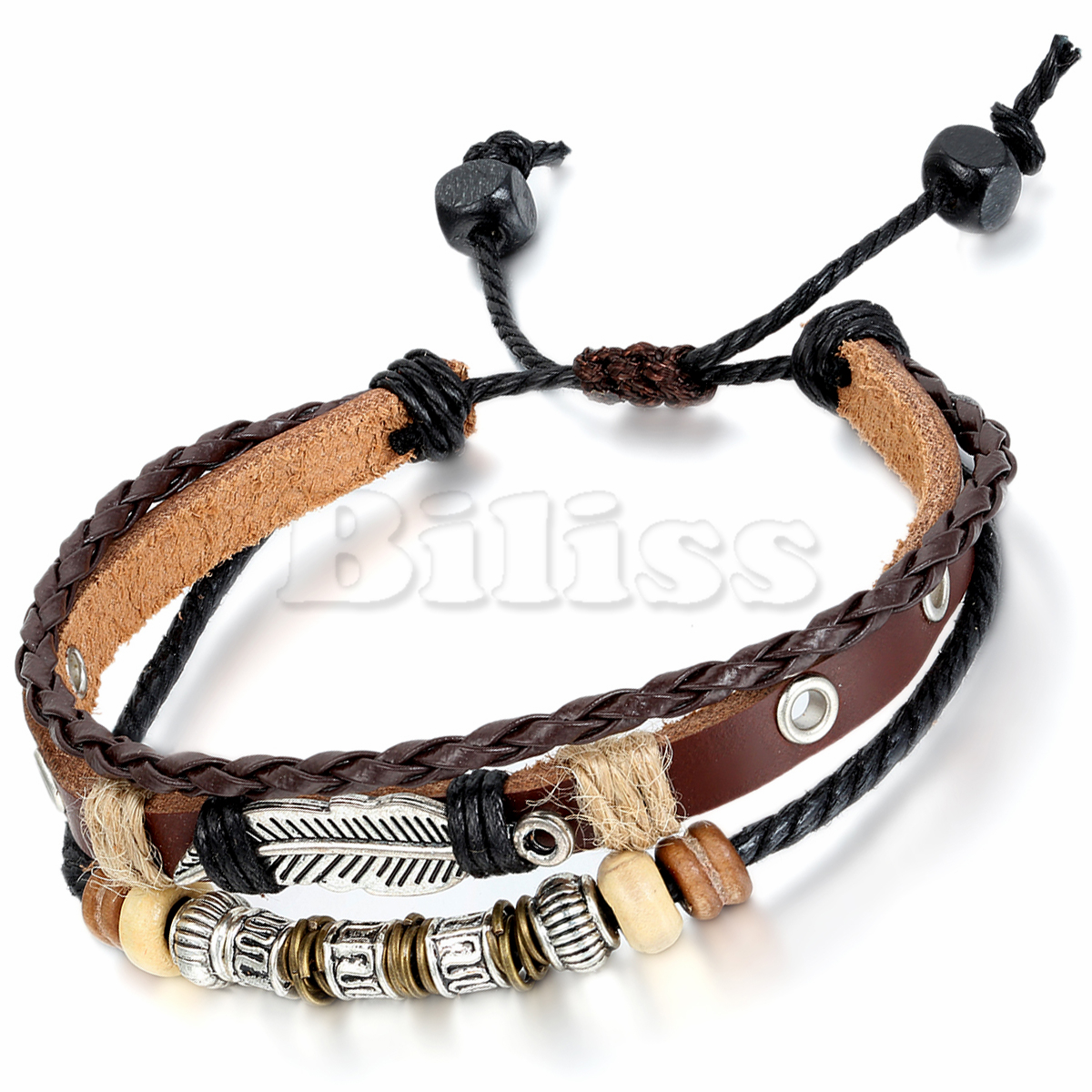 Online Vintage Mens Womens Handmade Tribal Leather Bracelet Feather Charm Beads Braided Multilayer Brown Adjule Aliexpress Mobile