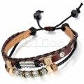 Vintage Mens Womens Handmade Tribal Leather Bracelet Feather Charm Beads Braided Multilayer Bracelet Brown Adjustable