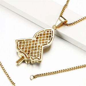 Image 2 - Hiphop Rock Skeleton Necklace Punk Ghost Party Jewelry Jesus Cross Specter Pendant CZ Crystal Necklaces Party Iced Out