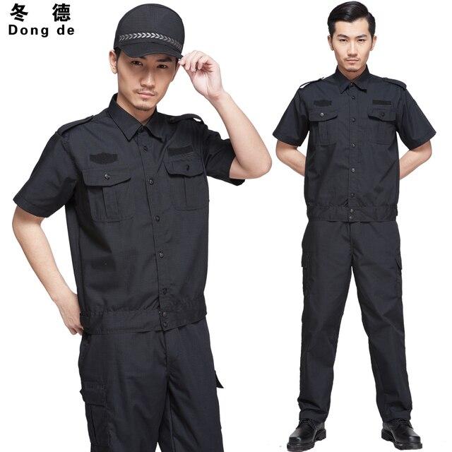 2016 nueva manga corta para hombre de seguridad uniformes conjuntos verano S-4XL tallas grandes negro empresas de seguridad ropa de seguridad conjunto de entrenamiento
