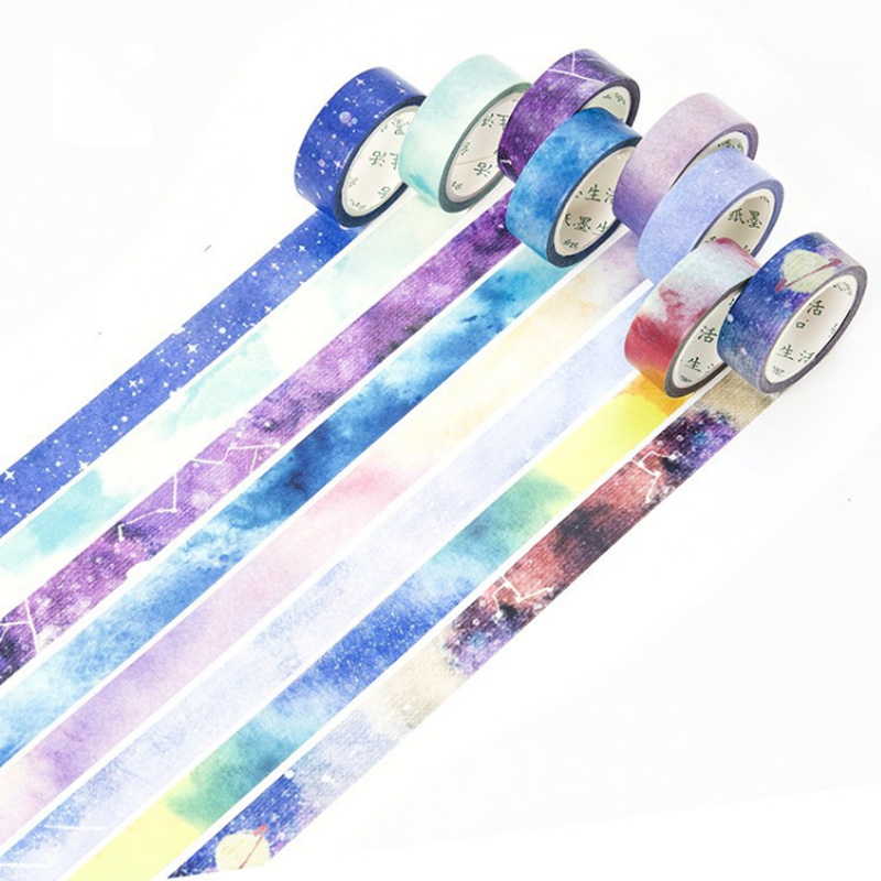 1.5cm*7m Sky series washi tape diy decoration scrapbooking planner masking tape adhesive tape kawaii label sticker stationery ezone 1pc kawaii watercolor sakura petal washi tape diy decorative scrapbooking sticker planner masking adhesive tape stationery