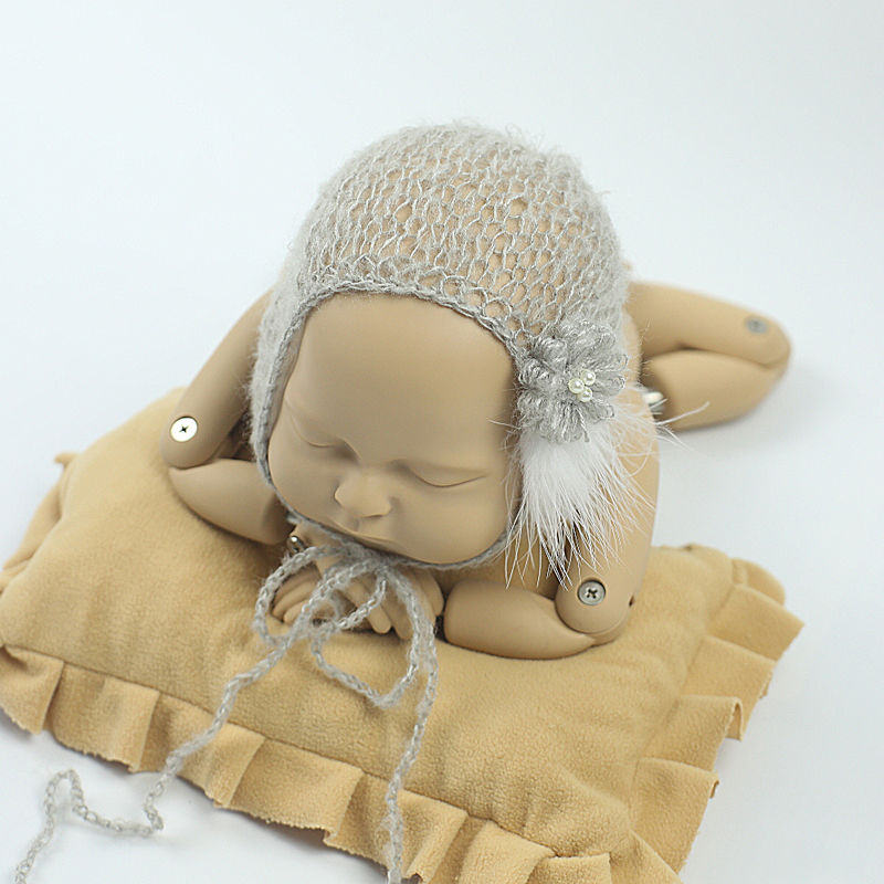 pasgeboren fotografie rekwisieten hoed baby gebreide baby cap - Babykleding - Foto 4