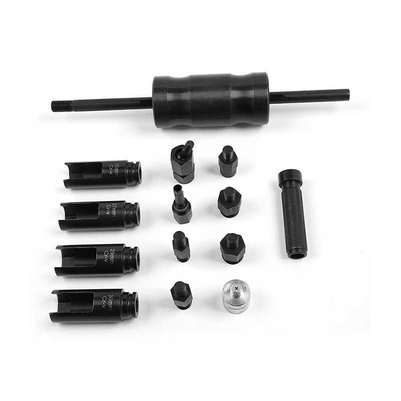 14 piezas, inyector de motor diésel, adaptador de carril común, juego de herramientas extractoras de extracción de martillo deslizante