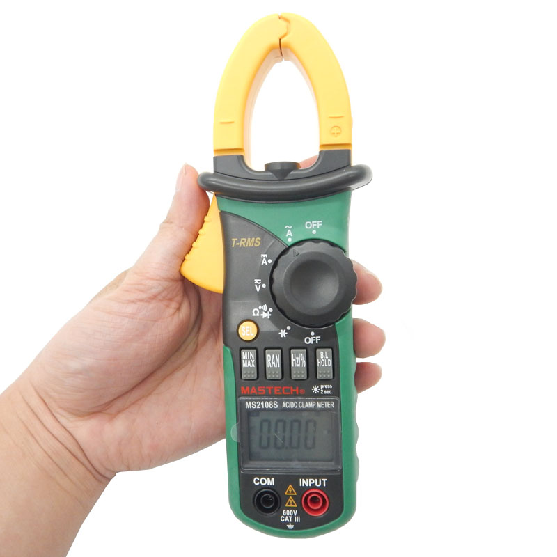 MASTECH MS2108S True RMS Digital AC/DC Current Clamp Meter Multimeter Capacitance Frequency Inrush Current Tester mastech ms2026 auto range digital ac current clamp meter price with capacitance frequency tester