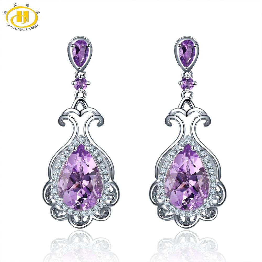 Hutang 5.46ct Natural Gemstone Brazilian Amethyst Stud Earrings Solid 925 Sterling Silver Romantic Fine Classic Jewelry for GiftHutang 5.46ct Natural Gemstone Brazilian Amethyst Stud Earrings Solid 925 Sterling Silver Romantic Fine Classic Jewelry for Gift