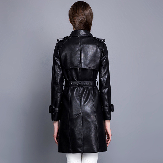 Fashion single breasted turn down collar medium-long PU leather trench coat women slim waist faux leather jacket with belt 1