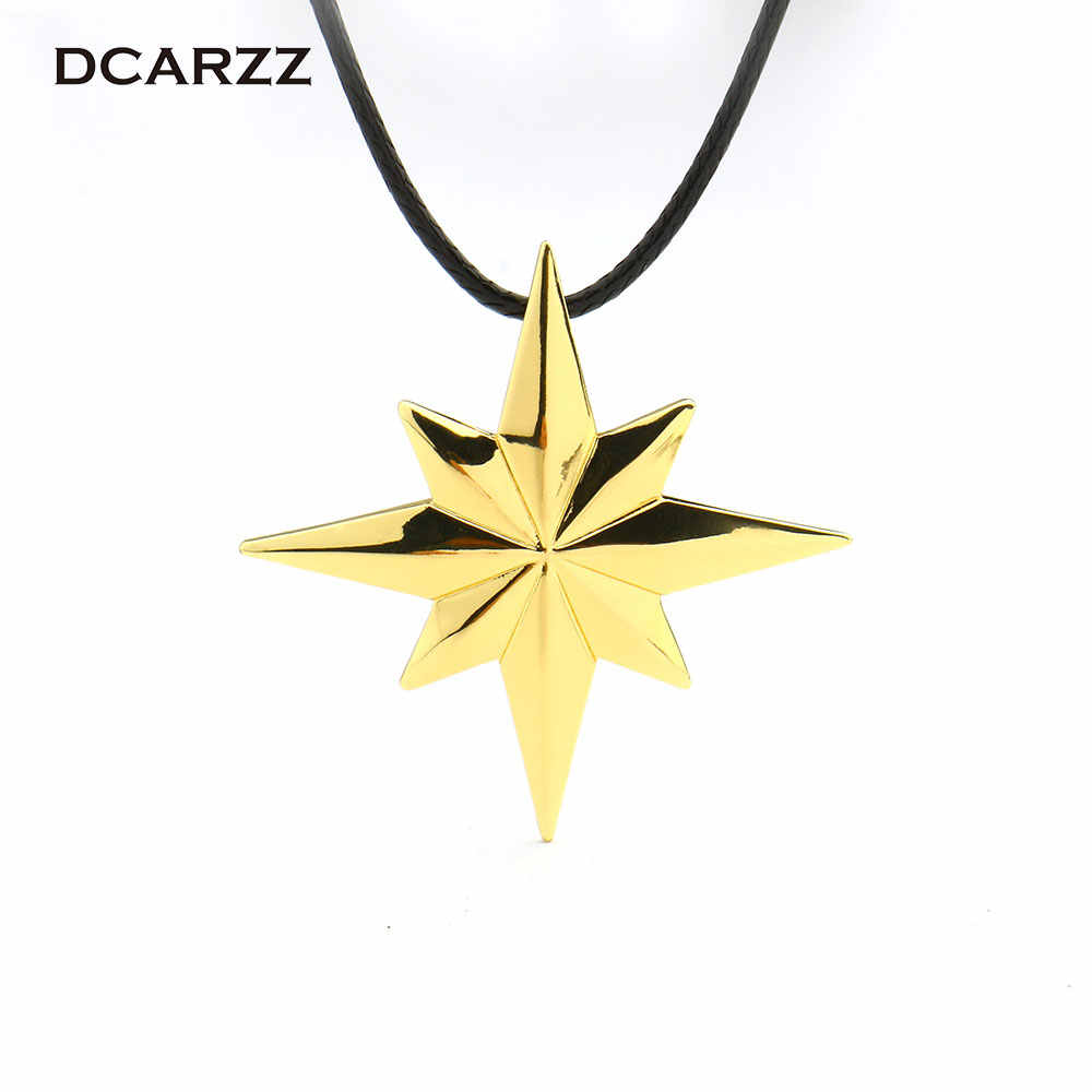 Avengers 4 Captain Marvel Necklace Gold Color Star Pendant with Leather Chain Movie Cosplay Jewelry Drop Shipping