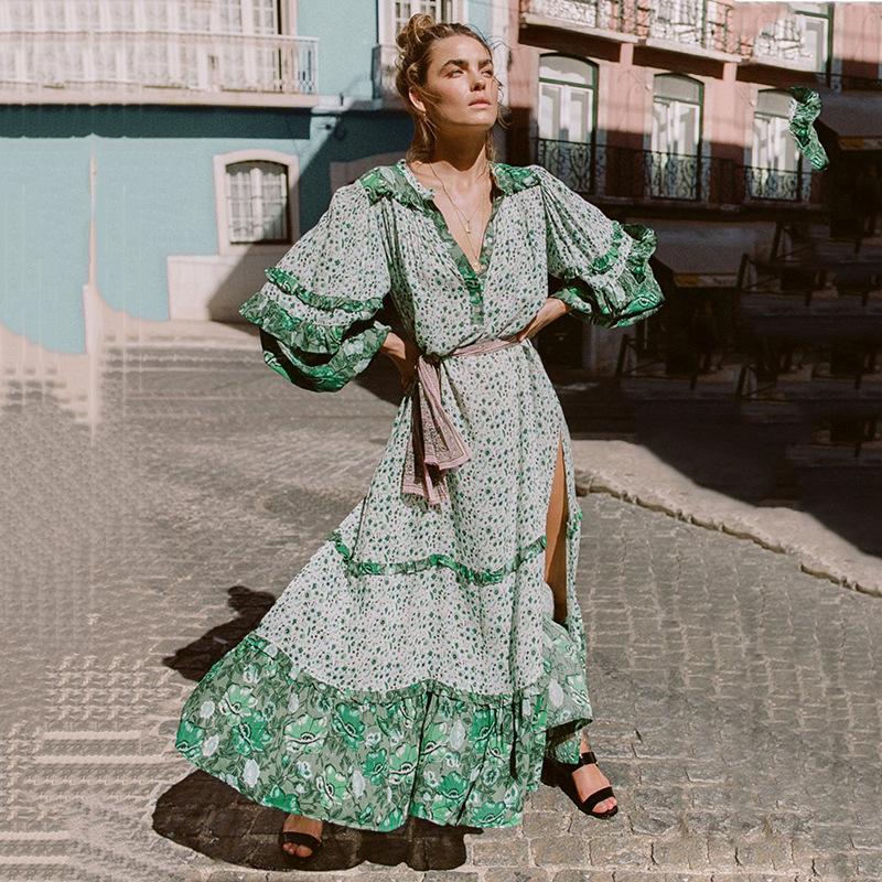 2018 summer women bohemian maxi dreses printing split long dress casual women chiffon boho beach hippie dress vestido plus size ...