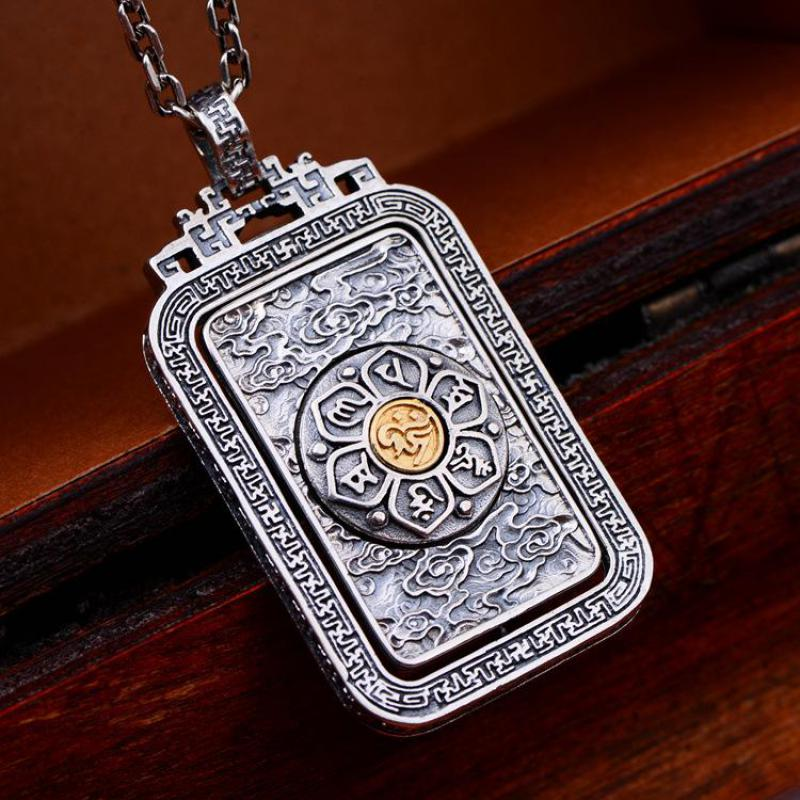 925 Sterling Silver Talisman Pendant Rotatable Men s Thai Silver Mantra Buddhism Jewelry Six Words Engraved