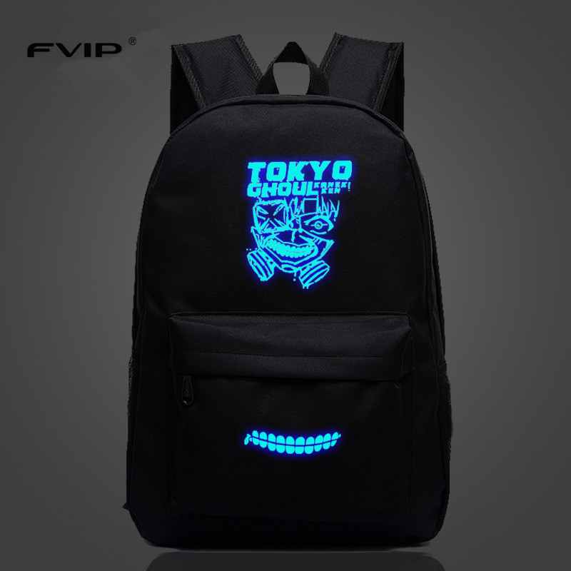 FVIP Hot Sell Anime Tokyo Ghoul Backpacks Luminous Printing Gengar Backpacks School Bags For Teenager Girls Mochila Feminina 2017 japan hot cartoon tokyo ghoul anime 3d jacquared students school backpack women bags large capacity men school bags mochila
