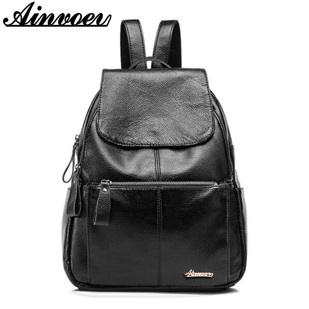 Ainvoev Genuine Leather Women Backpack Fashion Hot Quality School bag Tide Travel Bag New Casual double Shoulder bags d001/f 2018 fashion genuine leather women wallet bi fold wallets id card holder coin purse with double zipper small women s purse