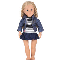American Girl Doll Clothes Jean Jacket Stripe T-shirt Skirts For 18 inch American Girl Doll Best Birthday Christmas Gift