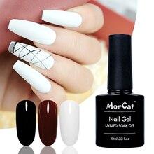 MorCat Nail Gel Polish White Varnish UV Manicure Art Design Lacquer 10ml Vernis Semi Permanent