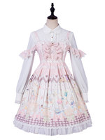 Sweet Lolita Jumper Skirts Straps Neck Printed Bow Pink Lolita Dress With Ruffles