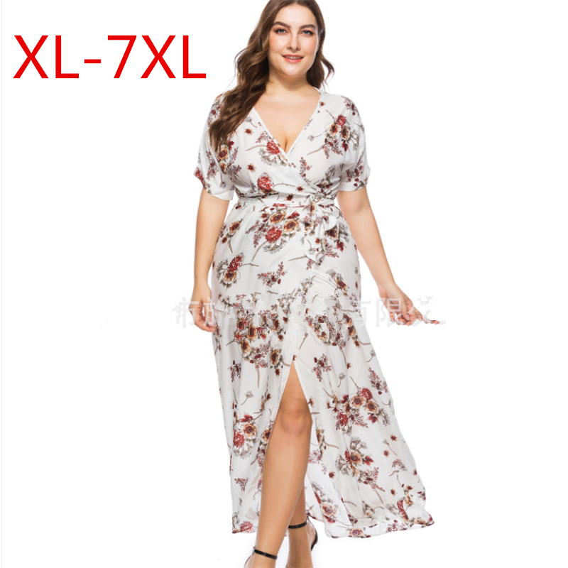 Plus Size L 7XL 2018 Summer Women Bohemian Chiffon Sundress Beach Casual Print Floral Maxi Dress