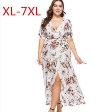 255ccb18725 Plus la Taille L-7XL 2018 D été Femmes Bohème En Mousseline de Soie Robe de  Plage Casual Imprimer Floral Maxi Robe