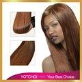 Yotchoi 7A grado completo de la cutícula virgen del pelo de remy # marrón claro color 3 unids/lote sin procesar malasia virginal extensión del pelo humano