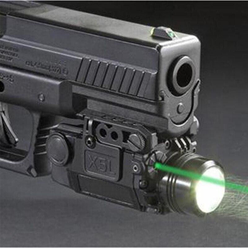 2in1 Tactical X5L LED Flashlight Combo Green Laser Sight Universal Pistol Gun Mira Laser Pistola For