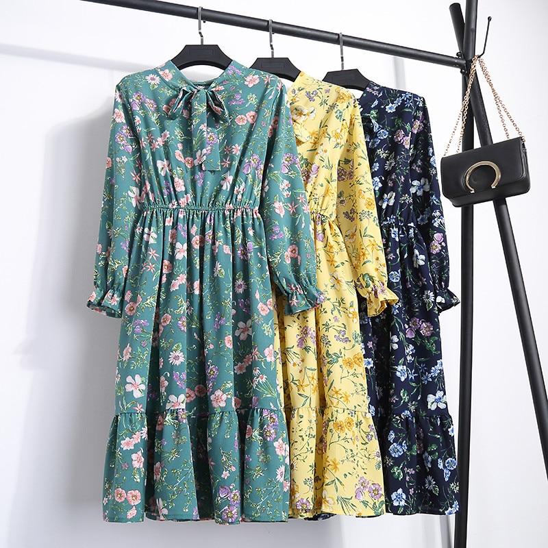 2018 Spring Summer Ladies Fashion Casual Elastic Waist Bow Dress Chiffon Printed Womens Floral Dresses Dropshipping