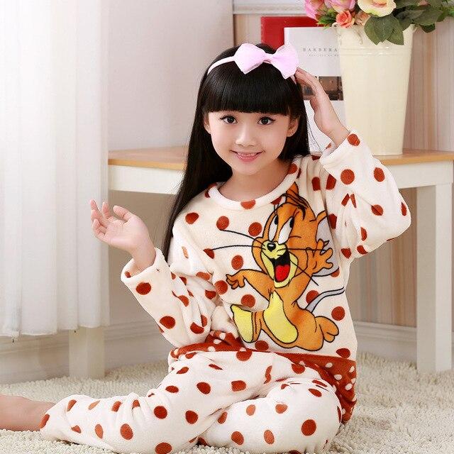 8111bf23adaf Winter flannel boys girls sleepwear fleece pyjamas kids pjs warm ...