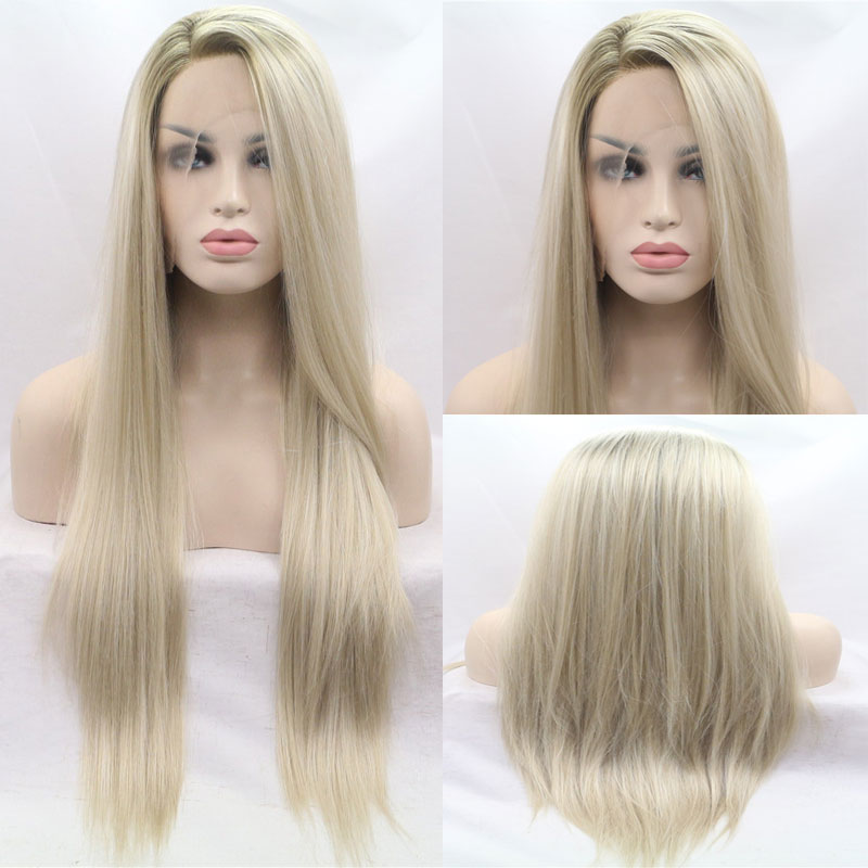 Active Bombshell Dark Roots Ombre Platinum Straight Synthetic Hand Tied Lace Front Wig Heat Resistant Fiber Hair Side Parting For Women