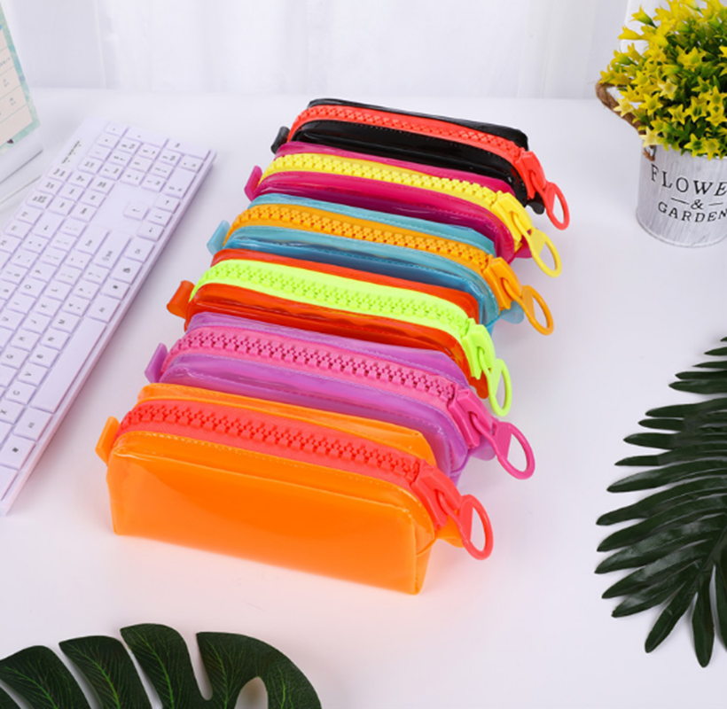 Transparent Big zipper leather pen case fabric pencil bag etui a crayons cuir pencil pouch stifte tasche pencil case schoolTransparent Big zipper leather pen case fabric pencil bag etui a crayons cuir pencil pouch stifte tasche pencil case school