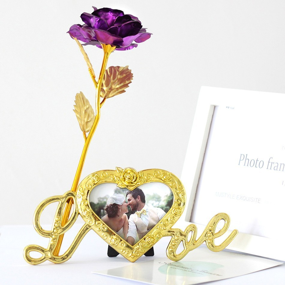 Foil Plated Rose Gold Rose Wedding Decoration Flower Valentines Day Gift lovers Rose artificial flower Red Pink Purple Blue