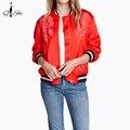 Patrón de Bordado de la manera de la Flor Oriental Pilotos Bomber Jacket Coat Chaqueta Corta 2015 de Las Nuevas Mujeres Del Soporte de la Cremallera prendas de Vestir Exteriores Tops