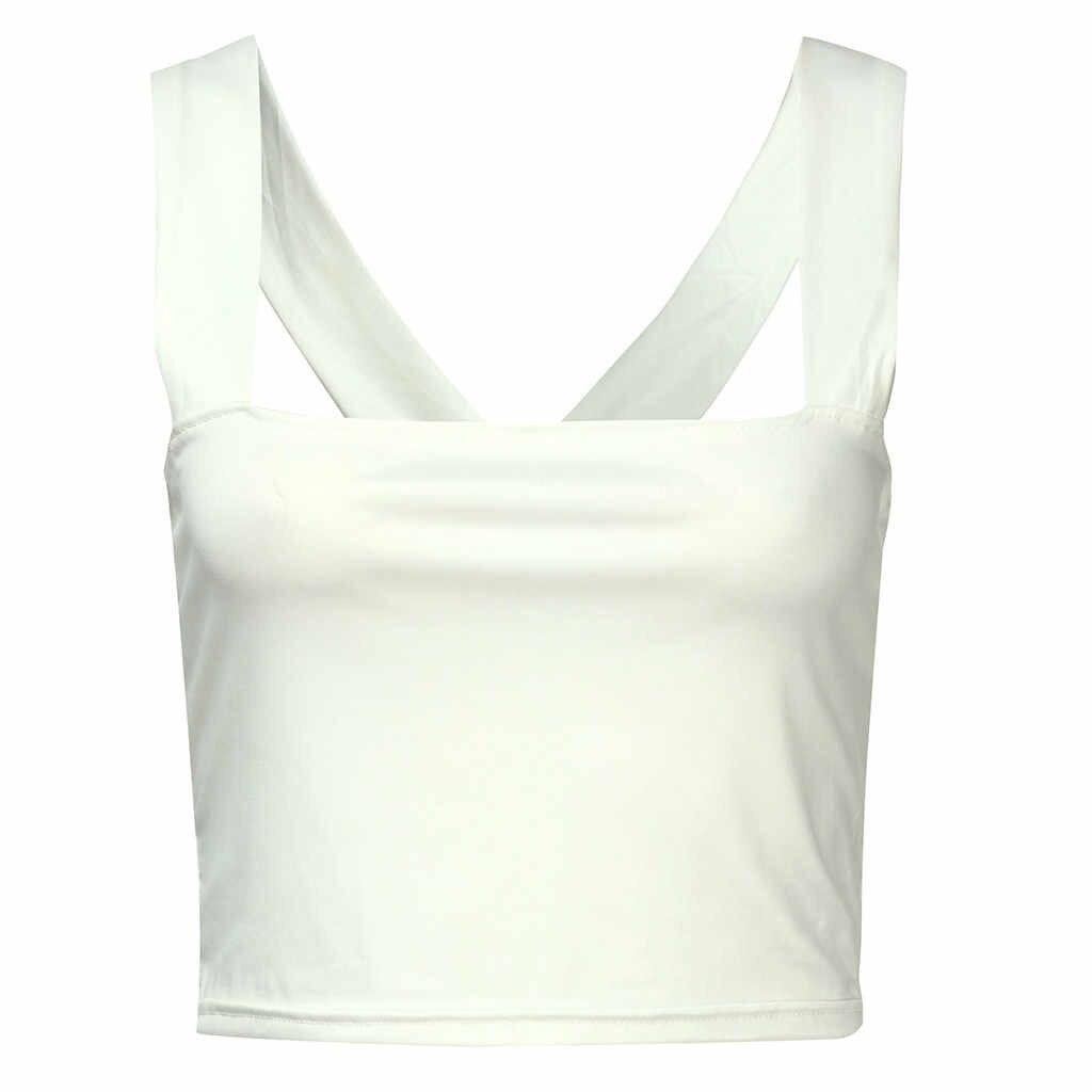 Womail couleur unie sans manches Polyester matériel été mode plage Simple offre spéciale décontracté débardeur hauts femmes 19APR24
