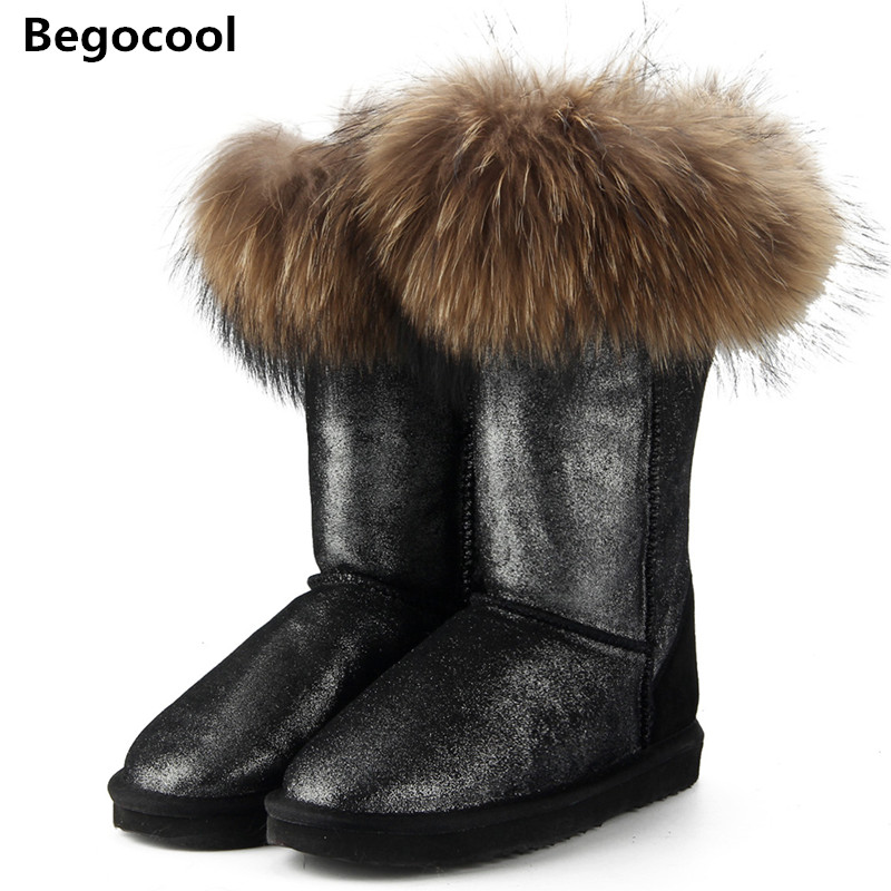 Fashion Natural Real Fox Fur Women's Winter UG Snow Boots Warm Long Boots Genuine Cow Leather High Winter Boots Women Shoes 5 colors 2017 new long fur coat parka winter jacket women corduroy big real raccoon fur collar warm natural fox fur liner