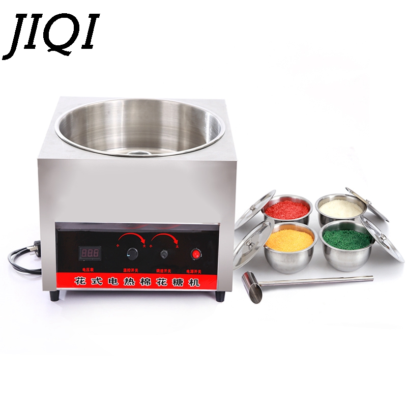 JIQI Commercial Electric Heating Sweet Cotton Candy Maker Automatic DIY Cotton Candy Sugar Fancy Fairy Floss Machine Processor цена