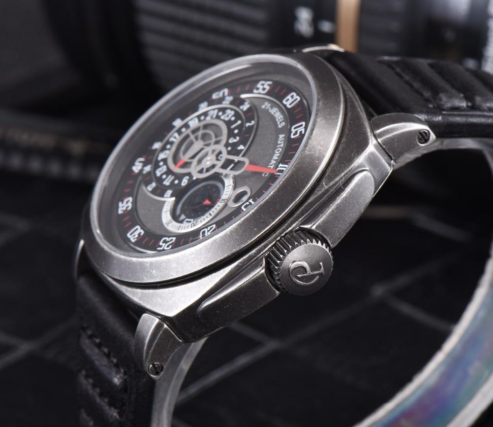 2016 Venta Caliente 43mm Parnis Automático Dial Negro Reloj de Plata - Relojes para hombres - foto 4