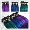 Angelbella 8a não transformados cabelo virgem reta dois tons ombre azul roxo verde colorido weave brasileiro do cabelo humano em linha reta