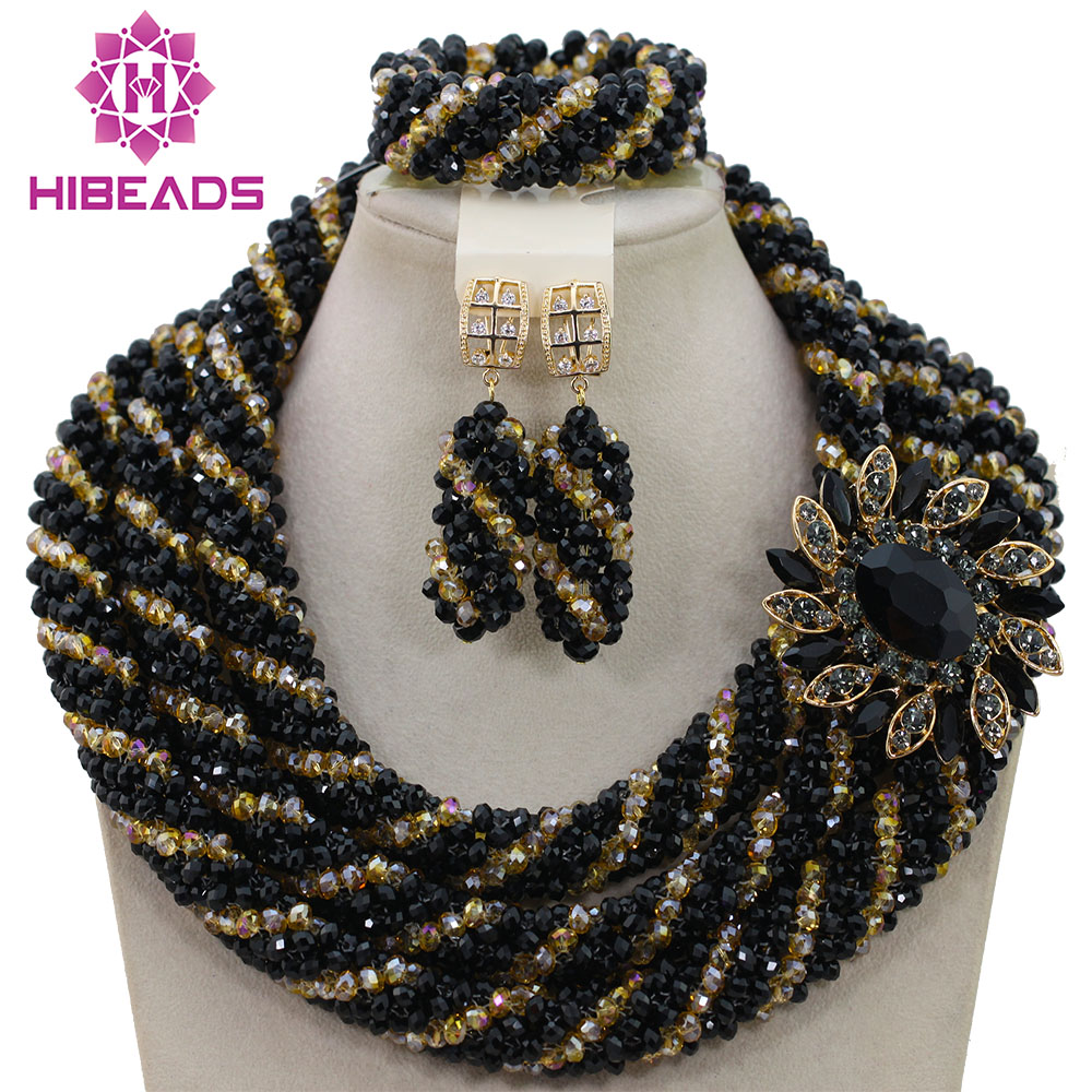 2016 New African Beaded Jewelry Set Bridal Jewelry Set Black Nigerian Wedding African Beads Jewelry Set Hot Free Shipping AIJ678 все цены
