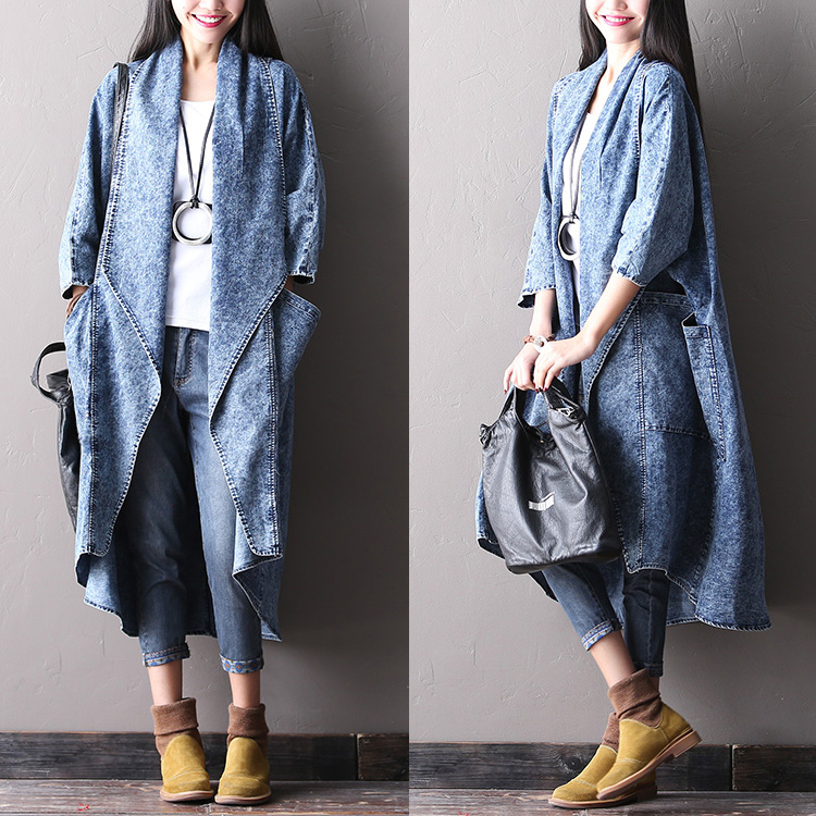 2019 Female Autumn Plus Size With Large Pocket  Outerwear Batwing Sleeve 100% Cotton Denim Cardigan