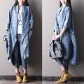 Primavera bolso grande trincheira feminina plus size manga batwing outerwear 100% algodão denim cardigan