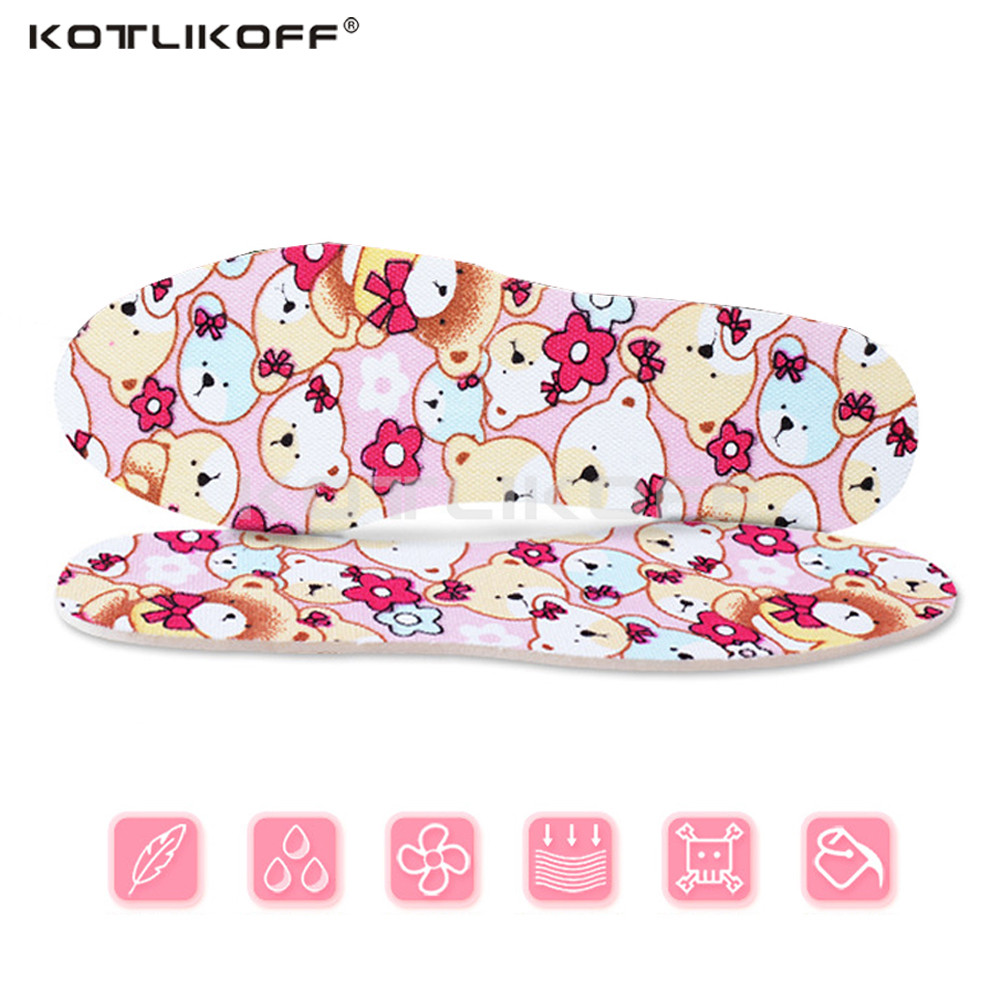 KOTLIKOFF Childrens cute cartoon insoles can cut and deodorant insoles breathable shock absorbing insoles moisture insole